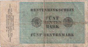 Fünfmarkschein der Rentenbank von 1923, Ro. 156, Rückseite