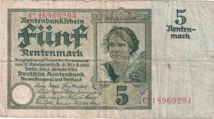 Fünfmarkschein der Rentenbank von 1926, Ro. 164, Vorderseite