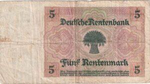 Fünfmarkschein der Rentenbank von 1926, Ro. 164, Rückseite
