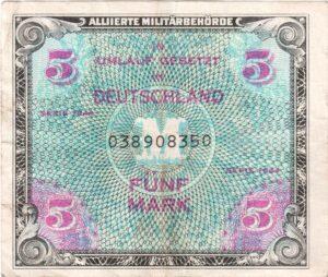 Fünfmarkschein der Alliierte Militärbehörde von 1944, Ro. 202, Vorderseite