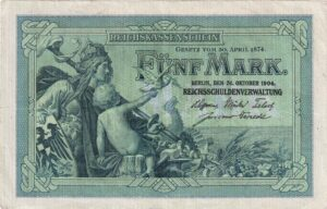 Deutsches Reich: Fünfmarkschein Reichskassenschein von 1904, Ro. 22, Vorderseite