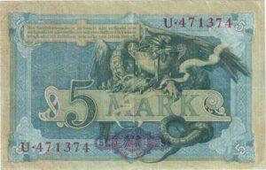Deutsches Reich: Fünfmarkschein Reichskassenschein von 1904, Ro. 22, Rückseite