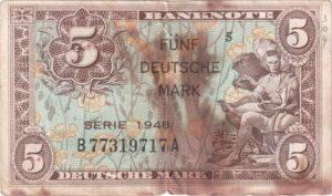 Fünfmarkschein der Alliierte Militärbehörde von 1948, Ro. 236, Vorderseite