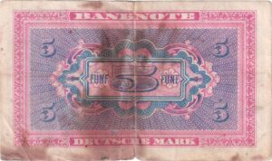 Fünfmarkschein der Alliierte Militärbehörde von 1948, Ro. 236, Rückseite