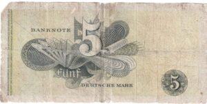 Fünfmarkschein der Bank deutscher Länder von 1948, Ro. 252, Rückseite
