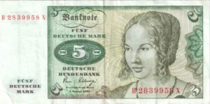 Fünfmarkschein der Deutsche Bundesbank, erste Serie, Vorderseite