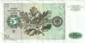 Fünfmarkschein der Deutsche Bundesbank, erste Serie, Rückseite