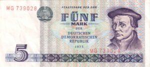 Fünfmarkschein der DDR 1975