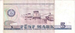Fünfmarkschein der DDR von 1975: Rückseite