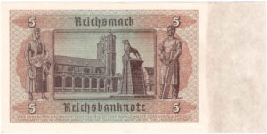 Fünfmarkschein nach der Währungsreform in der sowjetischen Besatzungszone von 1948. Kupon auf der alten Banknote von 1942 , Ro. 333, Rückseite