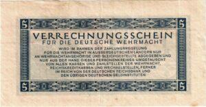 Fünfmarkschein der Wehrmacht von 1944 , Ro. 512, Rückseite