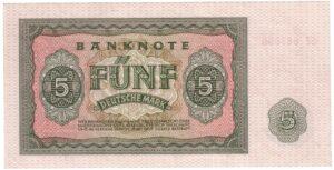 Fünfmarkschein der DDR von 1955, Ro. 349, Rückseite
