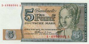 """Fünfmarkschein Banknote der Ersatzserie """"BBk II"""" für Westberlin. Bild: Deutsche Bundesbank, Frankfurt."""