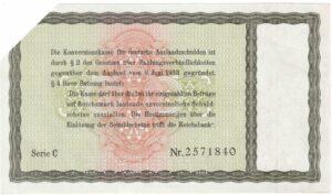 5 Reichsmark der Konversionskasse für deutsche Auslandsschulden 1933, Ro. 700 (entwertetes Wertpapier) (Rückseite)