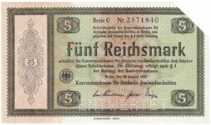 5 Reichsmark der Konversionskasse für deutsche Auslandsschulden 1933, Ro. 700 (entwertetes Wertpapier)
