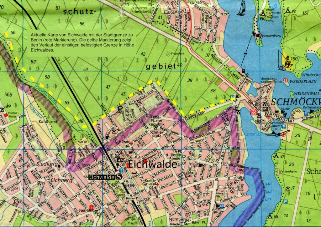 Aktuelle Grenzziehung und alte Grenzanlage zwischen Berlin und Eichwalde (Karte: Heimatarchiv der Gemeinde Eichwalde)
