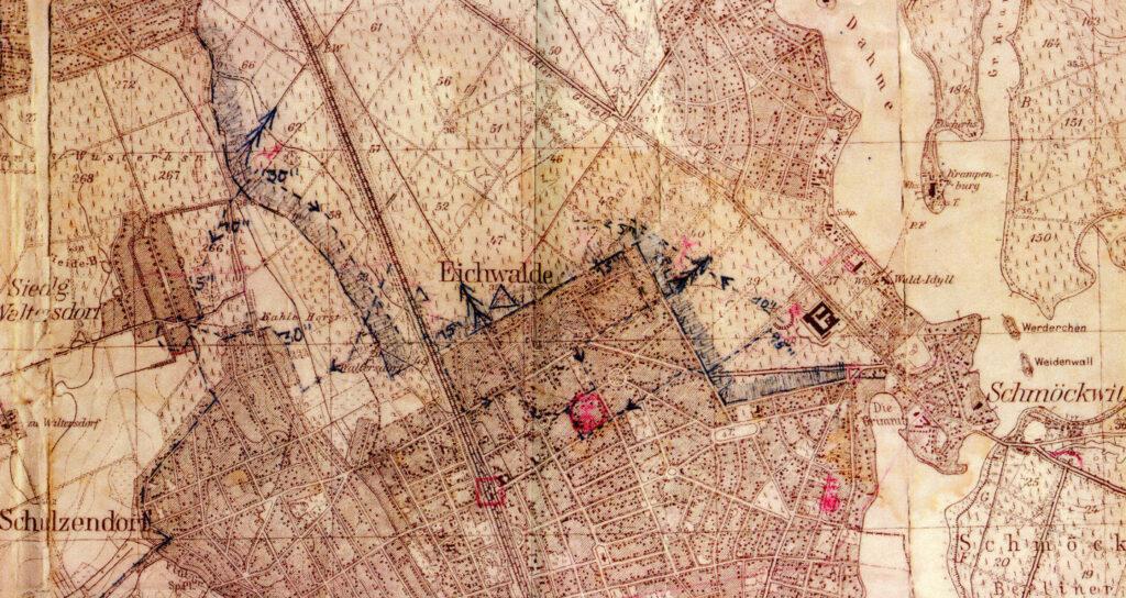 Plan Grenzkontrollweg zwischen Eichwalde und Berlin 1955 (Foto: Heimatarchiv von Eichwalde)