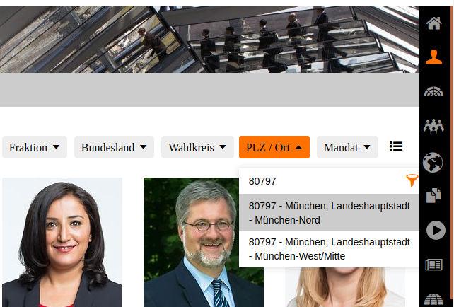 Postleitzahlensuche auf der Bundestagswebseite - korrekt mit der Auswahl von zwei Wahlkreisen für die PLZ 80797